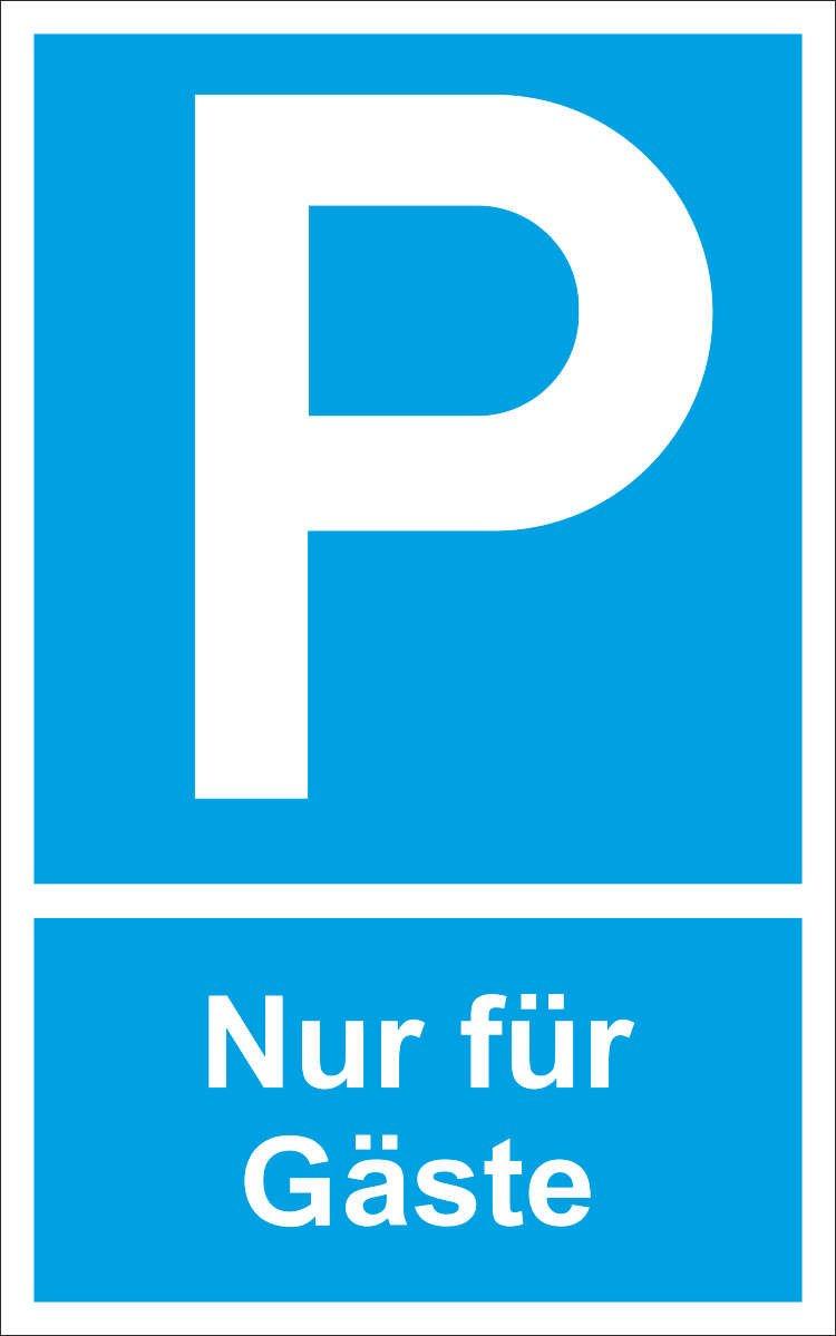 25x40 cm INDIGOS UG Kunststoff Text: Nur f/ür G/äste Parkplatzschild Symbol: P