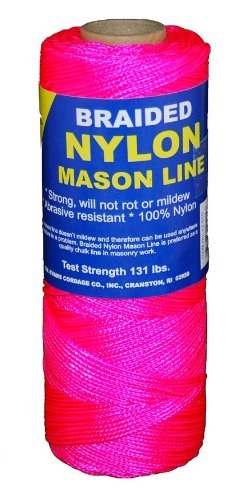 Braided Nylon Chalk Line - T.W . Evans Cordage 12-515 Number-1 Braided Nylon Mason, 500-Feet, Pink