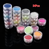 24 Colors Metal Glitter Nail Art Tool Kit Acrylic UV Powder Manicure Decor Tips