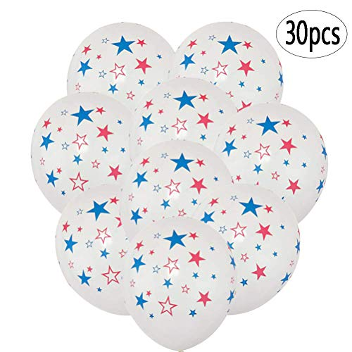 Star Latex Balloons (BinaryABC 4th of July Balloons,Patriotic Latex Balloons,Fourth of July Independence Day Decorations,Memorial Day Veterans Day Party Supplies,12)