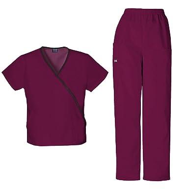 321a792099d Cherokee Women's Workwear Mini Mock Wrap Top 4800 & Pull On Pant 4200 Scrub  Set (