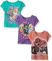 Nickelodeon Girls' Little Girls' Blaze and Paw Patrol 3 Pack T-Shirts