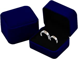 KINGWEDDING Flocked Earring Gift Boxes Jewelry Box,Rings Boxes (Blue)