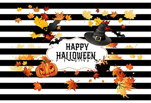 Black and White Stripes Photo Backdrop 7x5ft Black Witch Yellow Leaves with Orange Pumpkin Photo Background Kids Halloween Party Backdrops