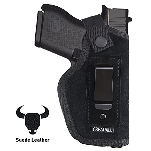 Creatrill Suede Leather Inside The Waistband Holster | Fits M&P Shield 9mm, .40, .45 Auto / GLOCK 26 27 29 30 33 42 43 / Ruger LC9 / Springfield XD & Similar Pistols | Gun Concealed Carry IWB Holster