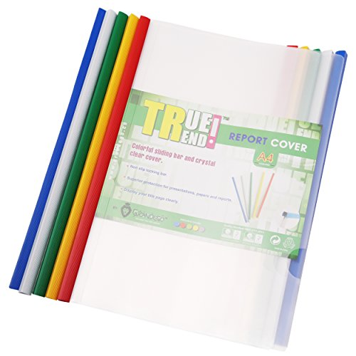 TRUETREND Clear Plastic Report Cover | Standard Sliding Bar Crystal Clear Design – Project File, Resume and Presentation Protector – Perfect for School and Office + Pack of 10 in 5 assorted (Colored Cover)