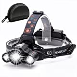 Headlamp ,Cobiz Brightest 4 Modes LED Headlight, Waterproof Flashlight with 90º Moving Zoomable Light-18650 Rechargable Battery Adjustable Headband,Best for Camping Running Hiking,Christmas Gifts