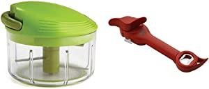 Kuhn Rikon Pull Chop Chopper/Manual Food Processor with Cord Mechanism, Green, 2-Cup & Rikon Auto Safety Master Opener for Cans, Bottles and Jars, 9 x 2.75 inches, Red