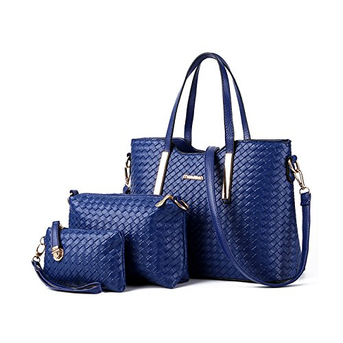 Tisdain Nuovo modello Femminile Borsa a mano Moda Portafoglio tessere Set di 4 borse Borsa messenger Deep Blue