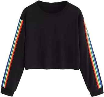 VECDY Moda Camisa Manga Larga De Mujer O-Cuello Rainbow Patchwork Sudadera Negra Camisa Casual De Primavera Pullover: Amazon.es: Ropa y accesorios