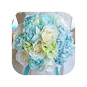 mamamoo Romantic Wedding Bouquet Artificial Handmade Rose Flower Bouquet Blue Wedding Accessories 2
