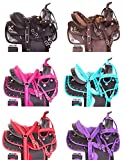 ME Enterprises Synthetic Western Adult Horse Saddle Tack Barrel Racing, Get Matching Headstall, Breast Collar & Saddle Pad Size 14″ to 18″ Inches Seat Available