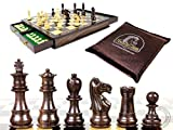 House of Chess - Rosewood / Boxwood Chess Set Pieces Galaxy Staunton 3'' (76 mm) with 15'' x15'' Rosewood Board + 2 Extra Queens, 4 Extra Knights & 2 Extra Pawns
