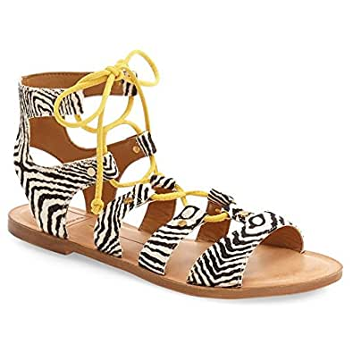 Dolce Vita Women's Karma Gladiator Sandal, Black/White/Multi, 6 M US