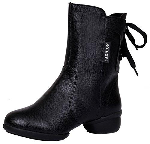 Abby 313 Womens Standard Ballroom Show Party Jazz Closed Toe High Top Mid Heel Rumba PU Zip Dance Boots Black