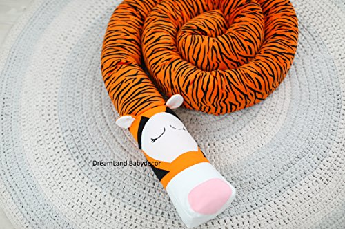 TIGER Baby Pillow, Handmade Pillow, Bolster Pillow by DreamLand Babydecor