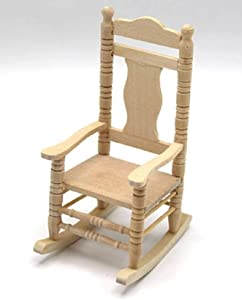 Melody Jane Dollhouse Bare Wood Rocking Chair Unfinished Rocker Miniature Furniture 1:12