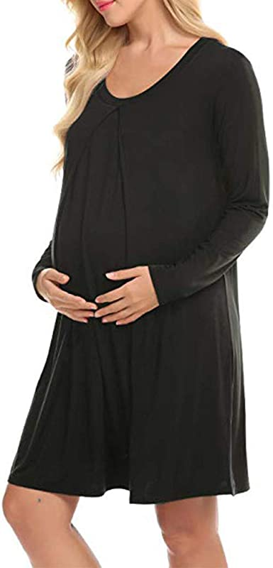FRAUIT Donna Vestito pr/émaman LAllattamento Camicia da Notte maternit/à Allattamento Manica Lunga Premaman Pigiama Inverno Vestiti Gravidanza Donna Inverno Eleganti