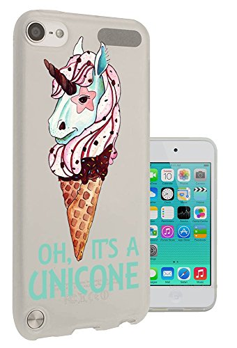 c0302 - cool cute fun unicorn ice cream love illustration art mythical sprinkles cone kawaii doodle Design Apple ipod Touch 6 Fashion Trend CASE Gel Rubber Silicone All Edges Protection Case Cover