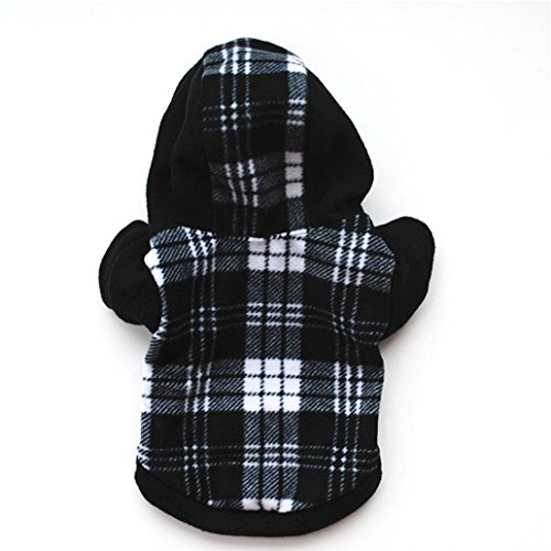 Pet Dogs Puppy Hooded Pullover Black White Plaid