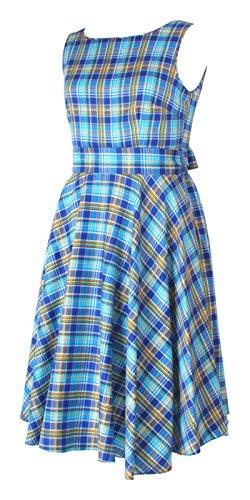 Moda Cámara Estilo Retro inspirada en Retro vestido de cóctel Swing Plus tamaño Blue Check Print
