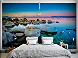 LHDLily 3D Stereoscopic Wallpaper Home Decoration Lakeside Reef With Twilight View Tv Backdrop Photo Wall Murals Wallpaper 400cmX300cm