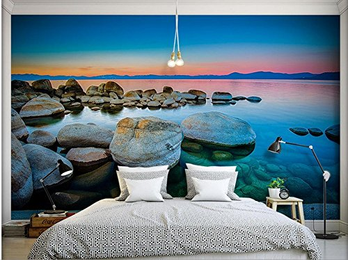 LHDLily 3D Stereoscopic Wallpaper Home Decoration Lakeside Reef With Twilight View Tv Backdrop Photo Wall Murals Wallpaper 400cmX300cm by LHDLily