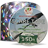 Bird Repellent Devices - 150ft x 2in Bird Repellent Scare Tape Holographic Bird Scare Ribbon, Double Side Bird Deterrent-150Ft