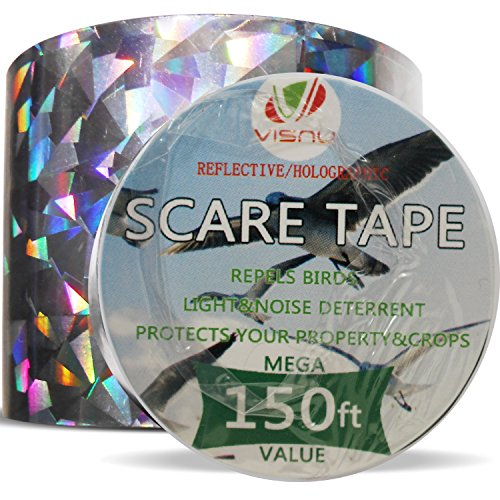 Scare Tape (Bird Repellent Devices - 150ft x 2in Bird Repellent Scare Tape Holographic Bird Scare Ribbon, Double Side Bird)