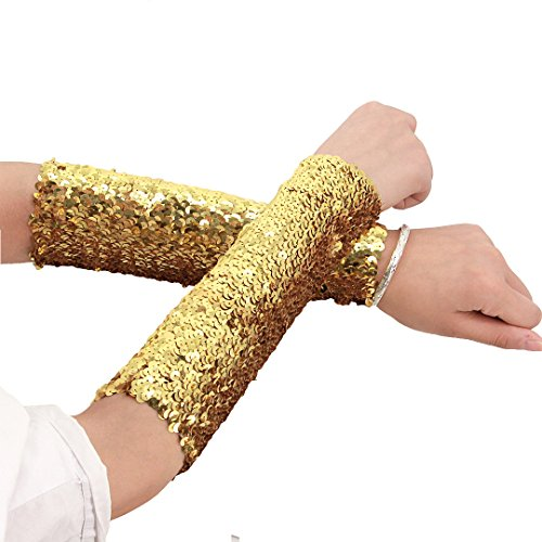 - Hoohu Womens 2PCS Sparkly Glitter Sequin Pattern Fashion Arm Art Long Sleeve Oversleeve Evening Party Favors
