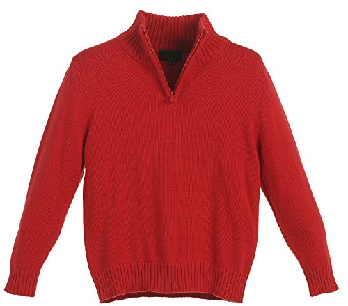 Gioberti Boy's Knitted Half Zip Long Sleeve Sweater, Red, Size 10