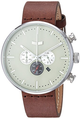 Vestal 'Roosevelt Chrono' Quartz Stainless Steel and Leather Dress Watch Color:Brown (Model: RSC42L04.BR) [並行輸入品] B078B6VBMY