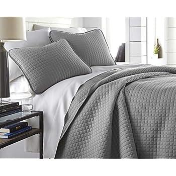 Southshore Fine Linens - Vilano Springs Oversized 3 Piece Quilt Set, King/California King, Steel Grey