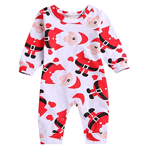 HappyMA Christmas Infant Newborn Baby Boy Girl Bodysuit Santa Claus Print Romper Long Sleeve Jumpsuit (Red, 12-18 Months)