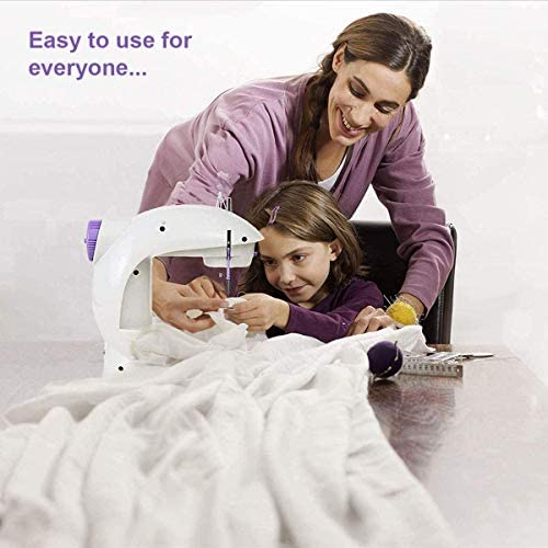 Portable Sewing Machines for Kids Beginners, Mini Electric Sewing Machines for Girls with Extension Table, Dual Speed Crafting Mending Machine Sewing Kit with Lights, Foot Pedal for Household
