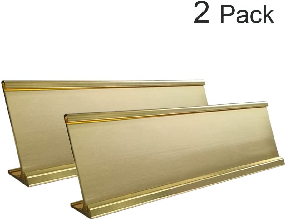 "2"" x 8"" Aluminum Desk Name Plate Holder, Office Business Desk Sign Holder Desktop 2 Pack (Yellow Gold)"