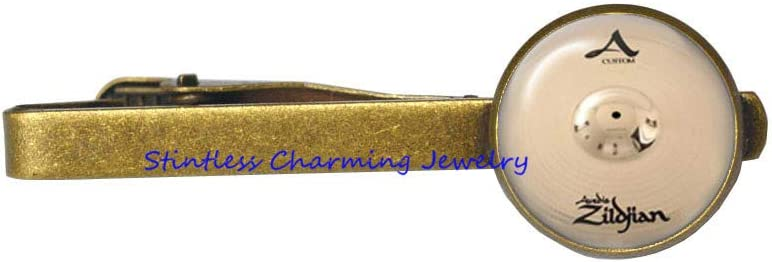 Cymbals Tie Clip, Drum Drummer Tie Pin, Perfect Gift, Tie Clip for him, Art Gifts for Her,Art Glass Dome Tie Pin-JV282