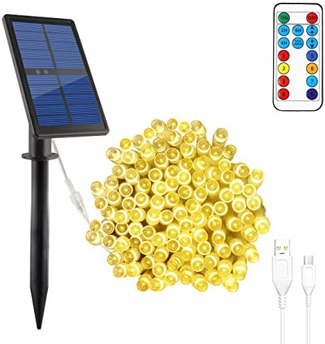 Solar String Lights Outdoor Waterproof, 98.4ft 200 LED Outdoor Solar Fairy Lights for Patio Garden Decor,Solar Powered or USB Charged Warm White