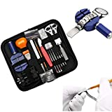 Tinpa Watch Repair Kit, Protable Watch Tool Set, 147 Professional Watch Repair Tool Kit Wristwatch Repairing Kit Accessory Press Closer & Opener Screw Wrench Opening Removal with Zipper Case
