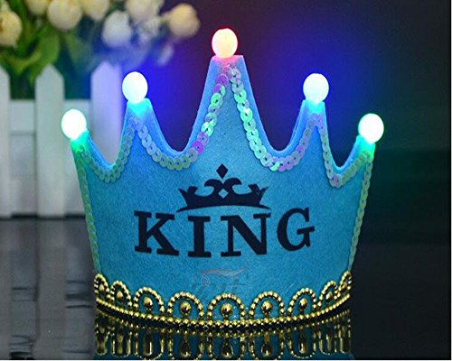OFT A Menudo Princesa/Prinz König Corona Corona Diadem Tiara Cumpleaños de Joyas con LED Lámpara para niños