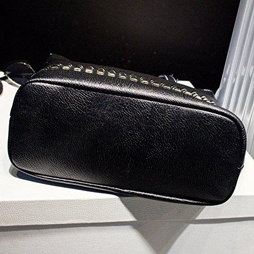 Female Daily Handbag Size Bag Women Autumn Large Women Shoulder Leather Bag Vintage PU Causal Bag Rivet Bag xRvqna5EY