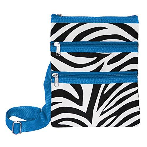 Zebra Print Hobo (World Traveler Womens 9 Inch Swingpack Purse Bag, Blue Trim Zebra, One)