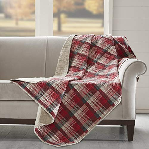 - un 1 Piece Off White Red Tartan Throw Printed Quilted, Lumberjack Themed Blanket Checked Bedding Sofa Couch Lodge Hunting Checkered Pattern Cabin Cottage Rustic Outdoors, Cotton