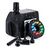 USCVIS Submersible Fountain Pump 132GPH (500L/H) 12 RGB Color LED Lights for Indoor Fountain, Garden, Fish Tank