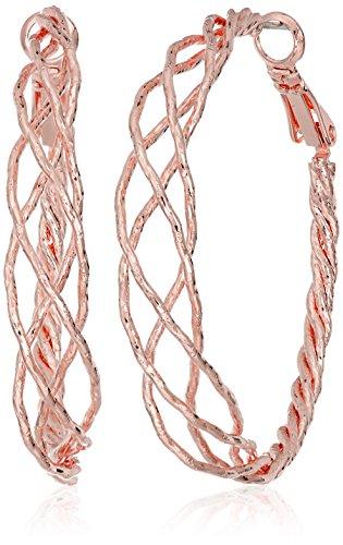 Guess Womens Earring - Guess Braided Rose Gold Hoop Earrings