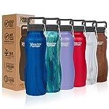 Healthy Human Water Bottle Curve, BPA Free Metal Stainless Steel Sports Water Bottles, Durable Leak Proof Insulated Waterbottle Flask 21oz Curve Midnight Oak