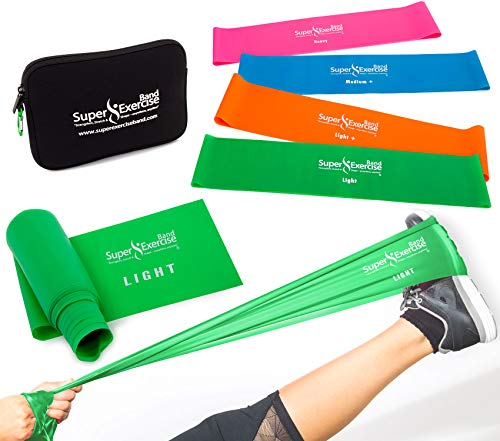 """Super Exercise Band 14"""" x 3"""" Long Light Strength Mini Loop Bands and Green Flat Band Set. Latex Free Resistance Bands for Physical Therapy, Pilates, Stretch, Yoga, Strength Training Workouts."""