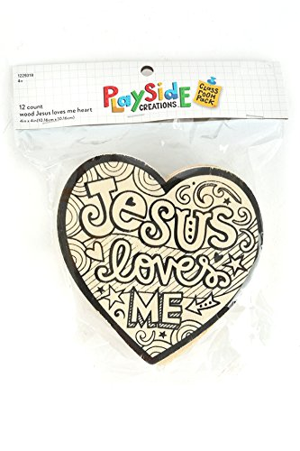 Playside Creations VBS and Camp Crafts, Wood Jesus Loves Me Heart, Natural, 12 Count -