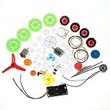 Plastic Crown Worm Gear Set, Motor Gear Kits DIY Robot Gear Pulley Belt Bushings Wheels Assembly Plastic Shaft Kit for Robot, Toy, Automobile Cars