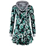 WOCACHI Final Clear Out Womens Floral Hoodies Hooded Pullover Blouses Swing Tunic Tops Pockets Black Friday Cyber Monday Sweatshirt Autumn Bottoming Shirts Long Sleeve (Green, XX-Large)